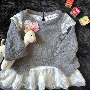 Luxury baby girl sweater and lace dress